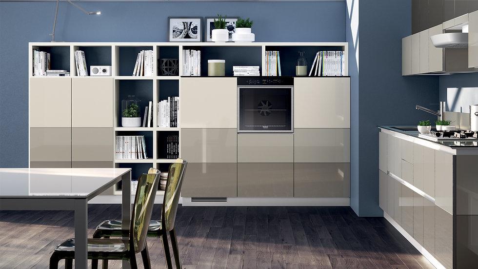 Стилистический знак Tetrix - горизонтальные цветные полосы - сосуществует с системой стен «Fluida», характеризуя как кухонную