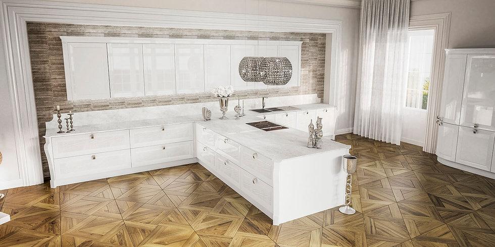 Итальянская кухня в стиле Арт деко Olympia Bianco от фабрики Berloni