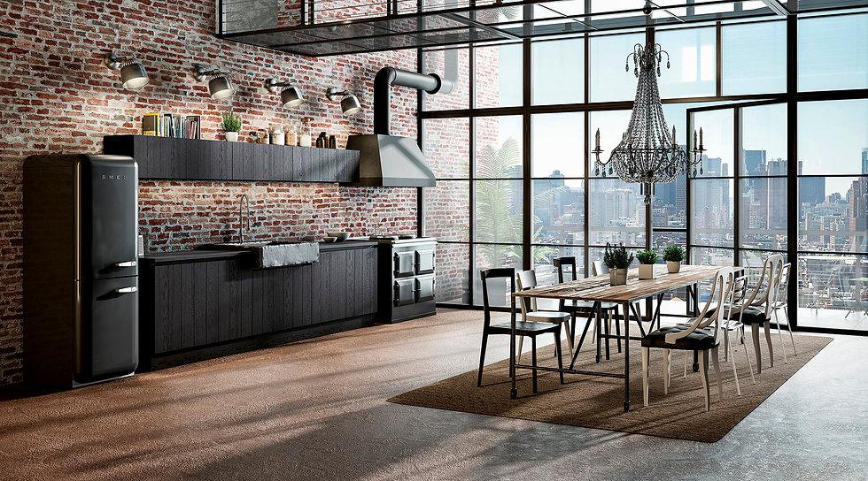 Итальянская кухня в стиле лофт B50 Nero China от фабрики Berloni