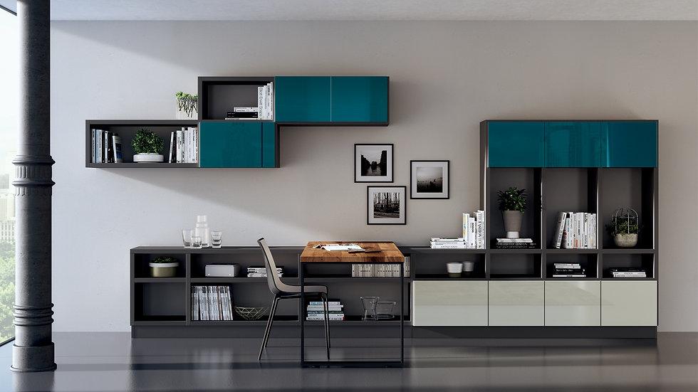 В комплекте со столешницей из дуба Vintage идет композиция, созданная с помощью настенной системы Fluida с кухонной ступенько