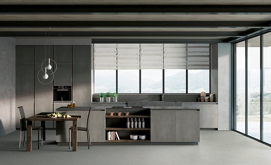 Современная кухня в сером цвете с фасадами из eco-malta от фабрики Berloni