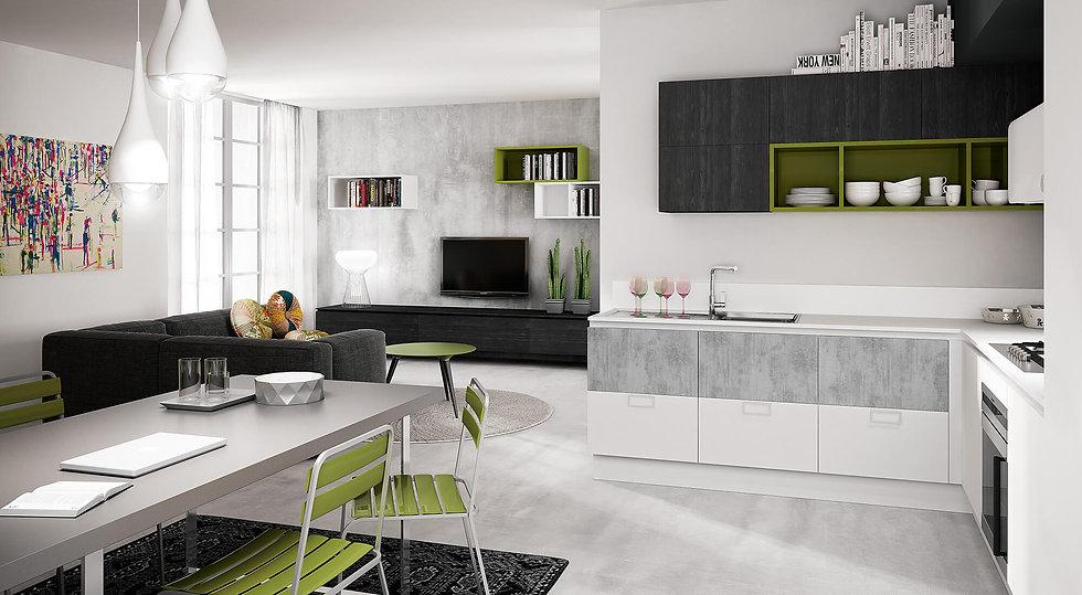 Итальянская кухня в стиле лофт B50 Cemento от фабрики Berloni