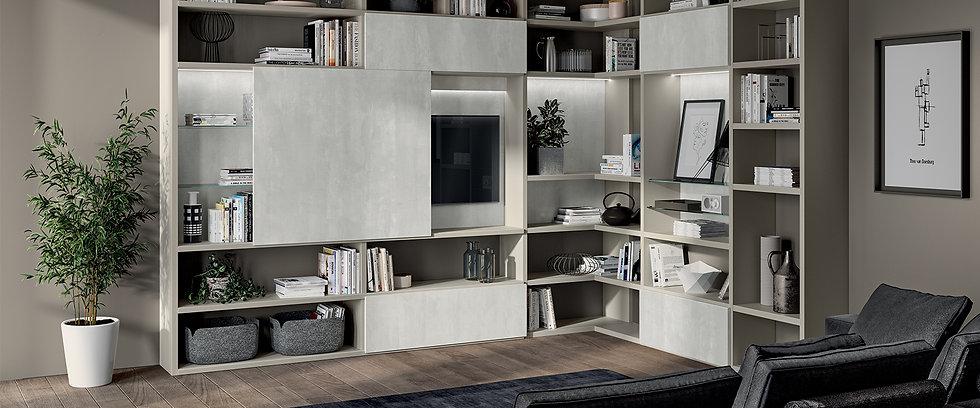 Гостиная, совмещенная с кухней, теперь стала основным элементом современной мебели. В данном случае дверцы стеновой системы «