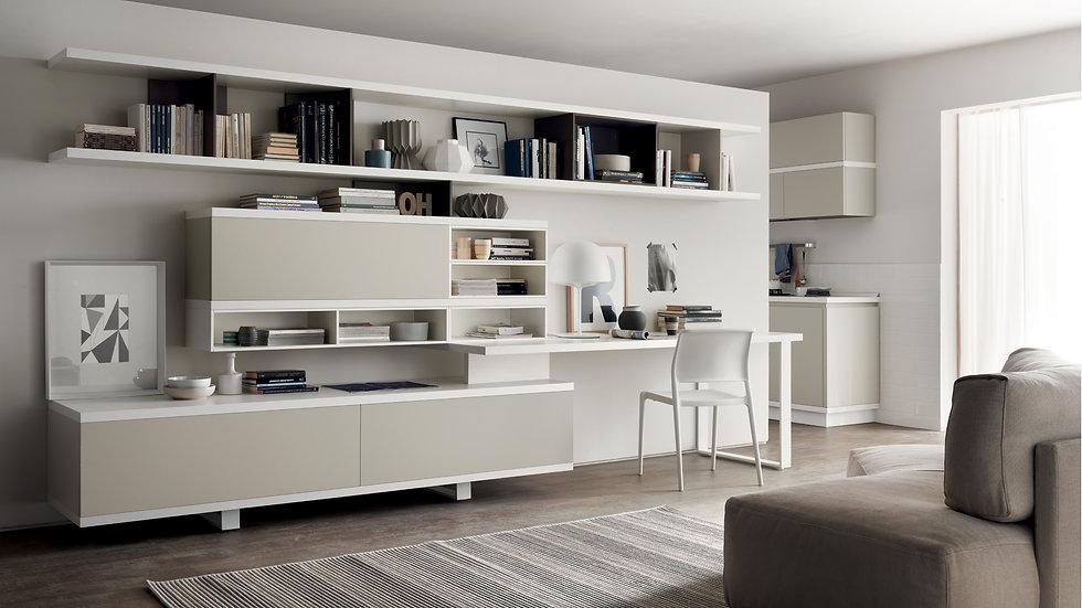 Пример независимой гостиной с ярко выраженным современным характером, поддерживающей композиционную свободу пространства.