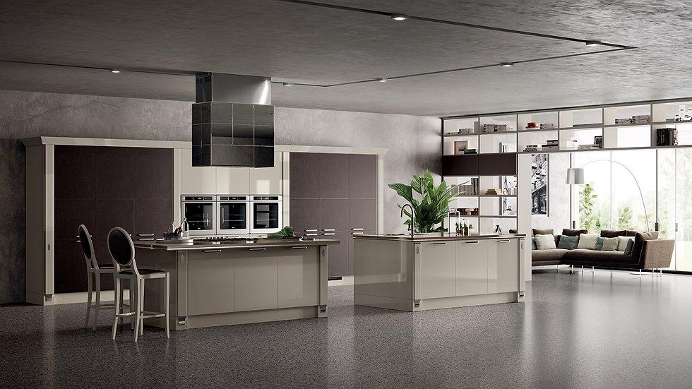 Классическая душа кухни приобретает современный вид благодаря вытяжке Exclusiva, облицованной зеркальными панелями со скошенн