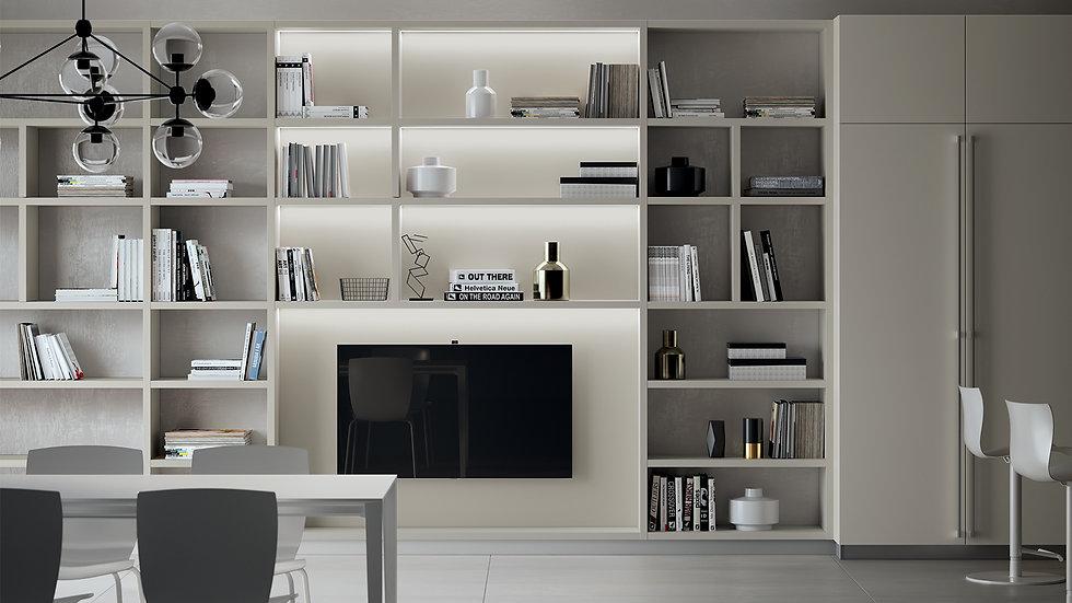 """Система стенки """"Fluida"""" с декоративной облицовкой цвета Серая Чайка, модульная система, расширяющая интерьерные возможности м"""