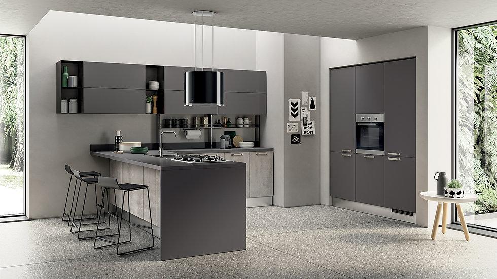 Для этой кухни с текстурной отделкой использовались разные оттенки серого: Concrete Medium для декоративной облицовки тумб, С