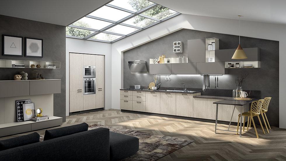 Навесные шкафы из металла цвета Белый Prestige являются рельефным акцентом композиции и создают цветовую динамичность