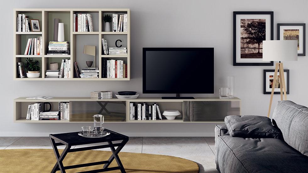 Подвесные элементы для гостиной, сочетающей в себе мебель 180 см и зеркальные раздвижные двери. Серая Чайка декоративная для