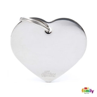 My Family Tags - Large Heart In Chrome Plated Brass