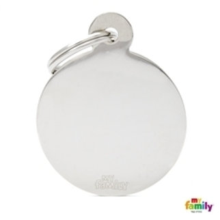 My Family Tags - Large Circle In Chrome Plated Brass