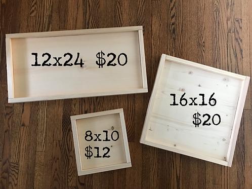 Framed Wood Blanks
