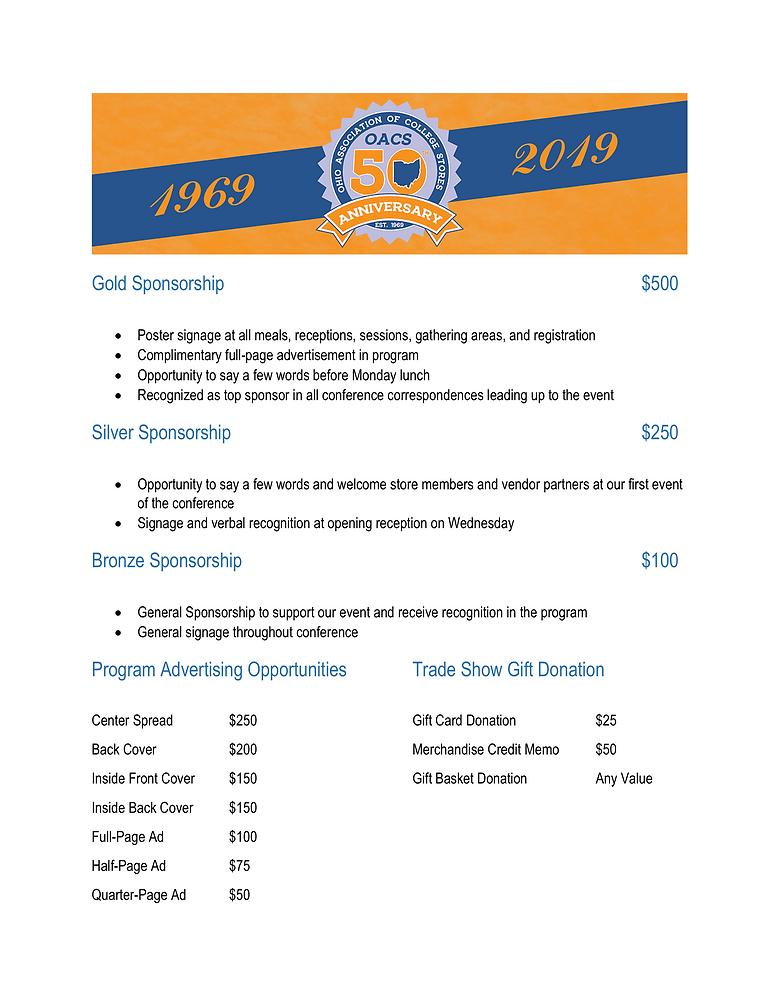 Sponsorship and Ad Levels OACS Fall 2019