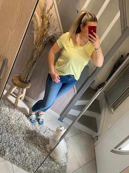 Tee-shirt en coton jaune paille