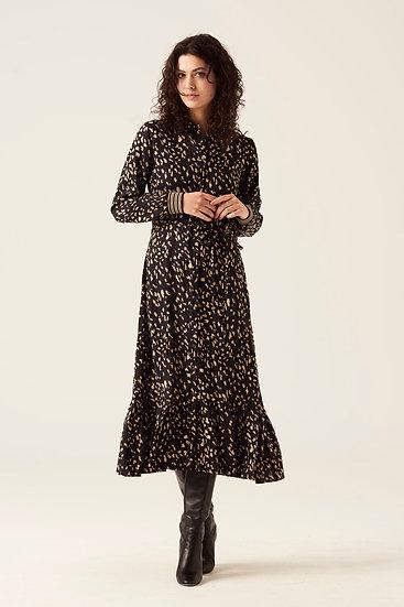 Robe longue imprimé noir & beige