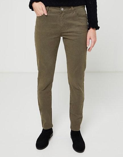Pantalon slim push-up kaki