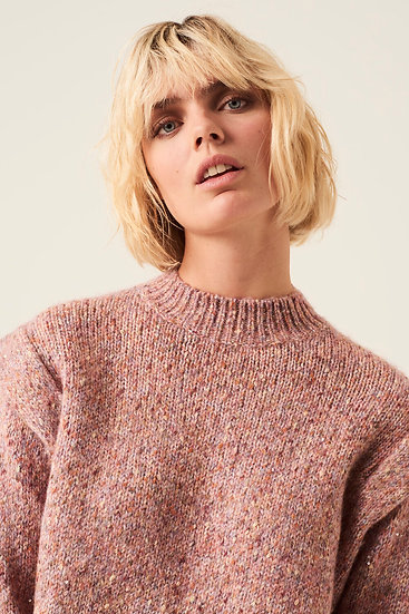 Pull col montant chiné rose