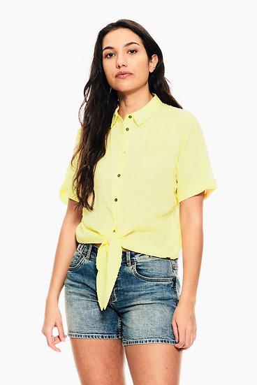 Chemise à nouer jaune