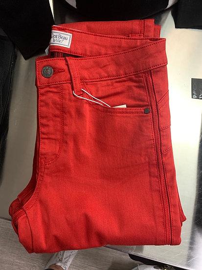 Pantalon slim push-up rouge