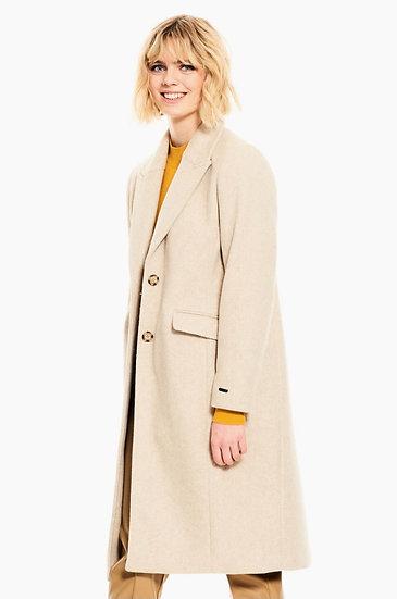 Manteau long beige chiné