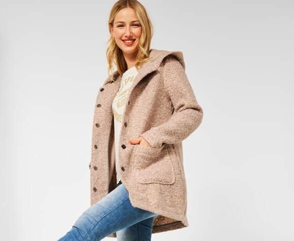 Manteau à capuche à l'aspect chiné beige rosé