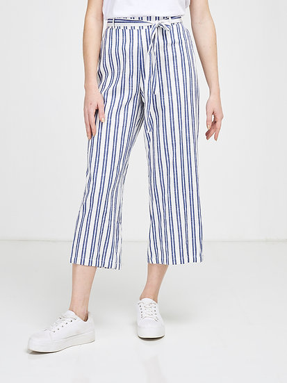 Pantalon raccourci coupe large rayé