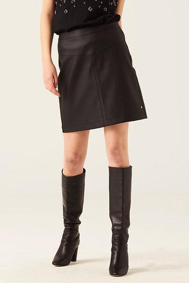 Jupe droite noire simili-cuir