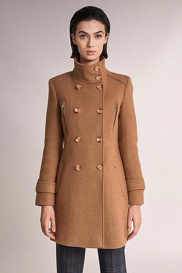 Manteau en drap de laine camel