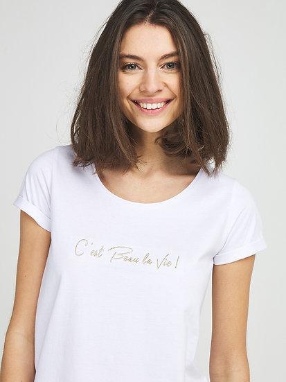 Tee-shirt coton blanc brodé