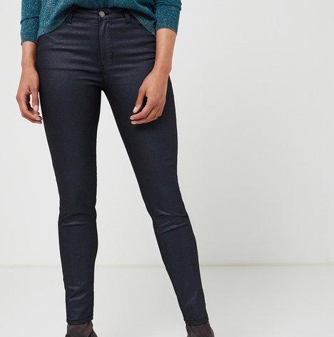 Pantalon taille haute bleu métallisé