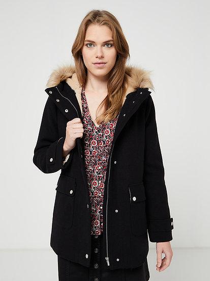 Manteau flanelle avec capuche noir