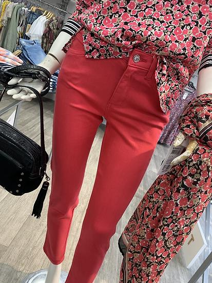 Pantalon taille haute framboise