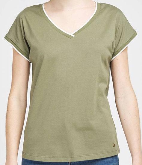 Tee-shirt col V olive