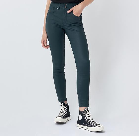 Pantalon coton huilé vert taille haute push-in secret