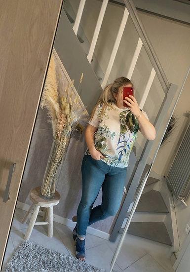 Tee-shirt bi matière tropical