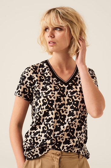 Tee-shirt col V imprimé léopard