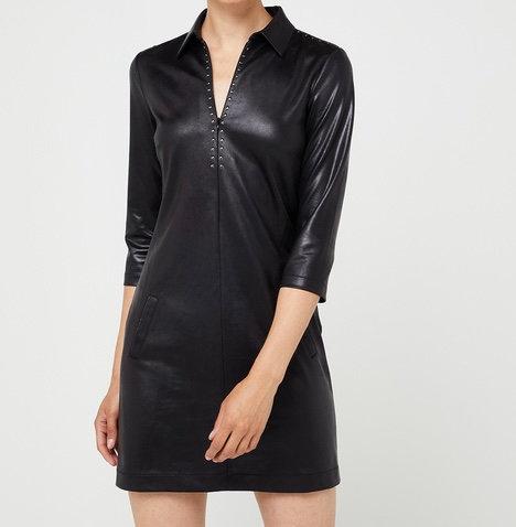 Robe en jersey cuir noir avec clous