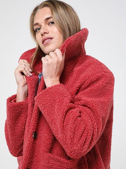 Manteau bouclettes couleur rhubarbe 🧥