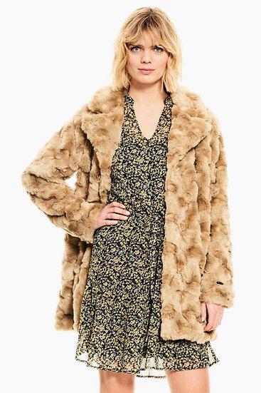 Manteau en fausse fourrure beige