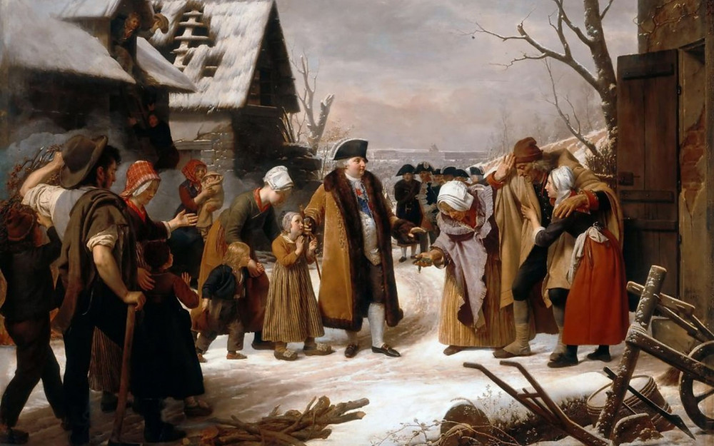 «Людовик XVI, раздающий деньги беднякам во время голода, свирепствовавшего во Франции в 1788 г.», Луи Эрсан, 1817