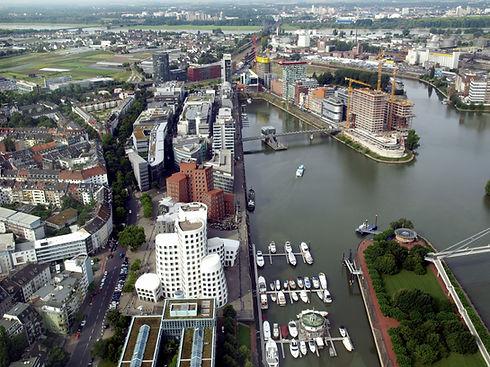 Duesseldorf mediahafen (harbour) in Rhei