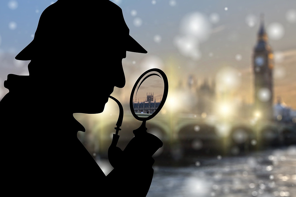Sherlock silhouette smoking pipe and looking at London through magnifying glass