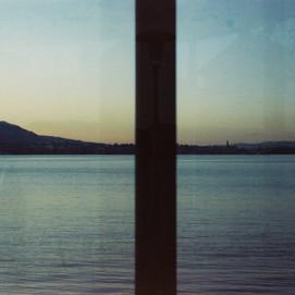 lake behind glass