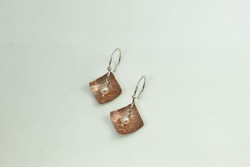 Diamond Mokume Earrings with Pearl