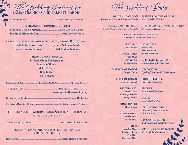 Wedding Program (Inside)