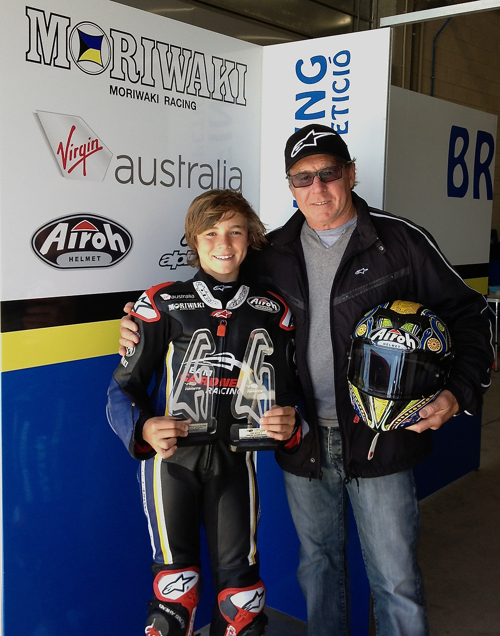 Luca and Wayne Gardner with 1st place trophies_Round 2 CMV & Copa Open.jpg