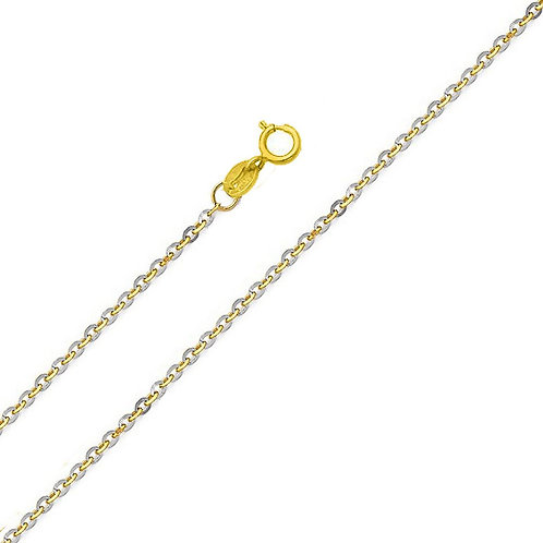 14k Two-tone Gold 1.4-mm Diamond Cut Rolo Chain Necklace
