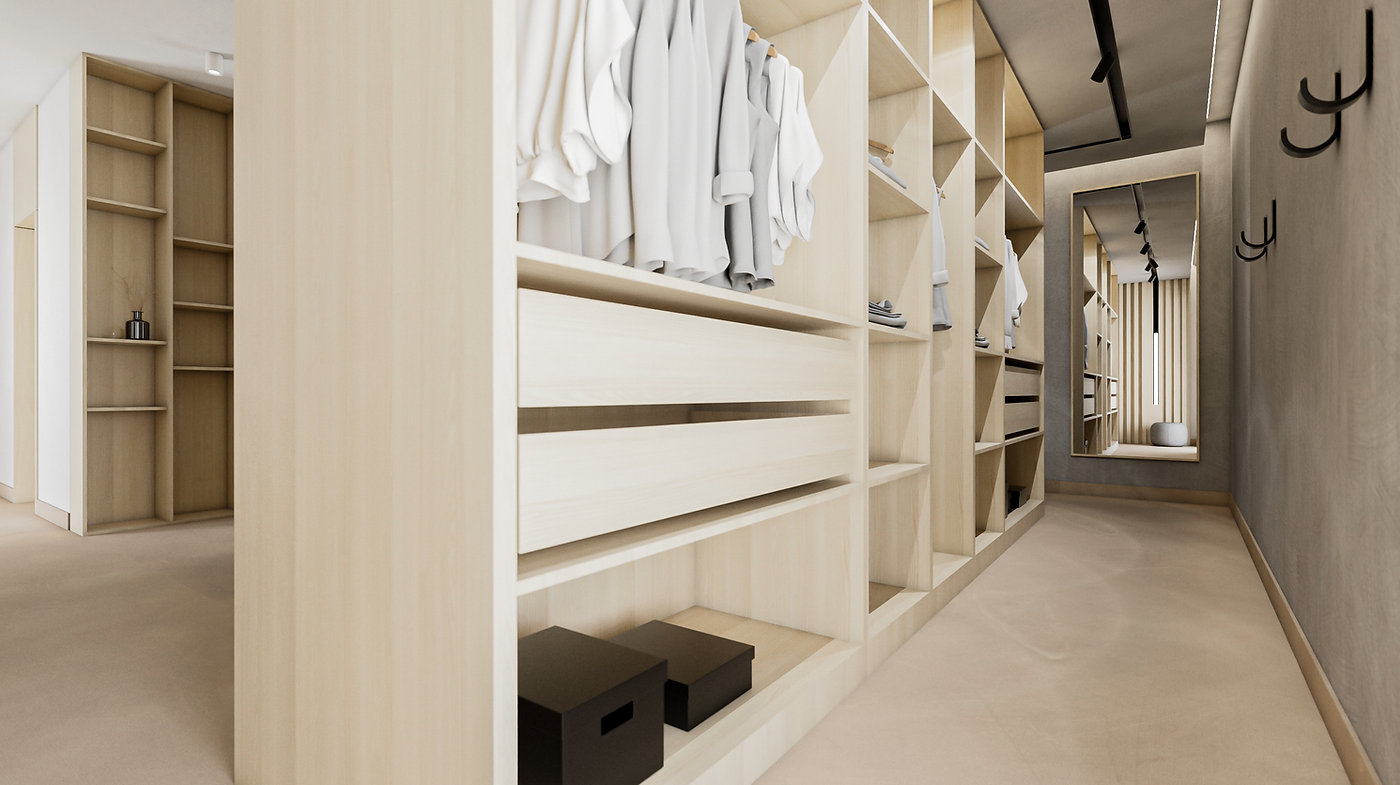Spálňa šatník interiérový dizajn