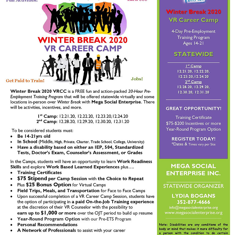 Virtual Statewide Winter 2020 Career Camp