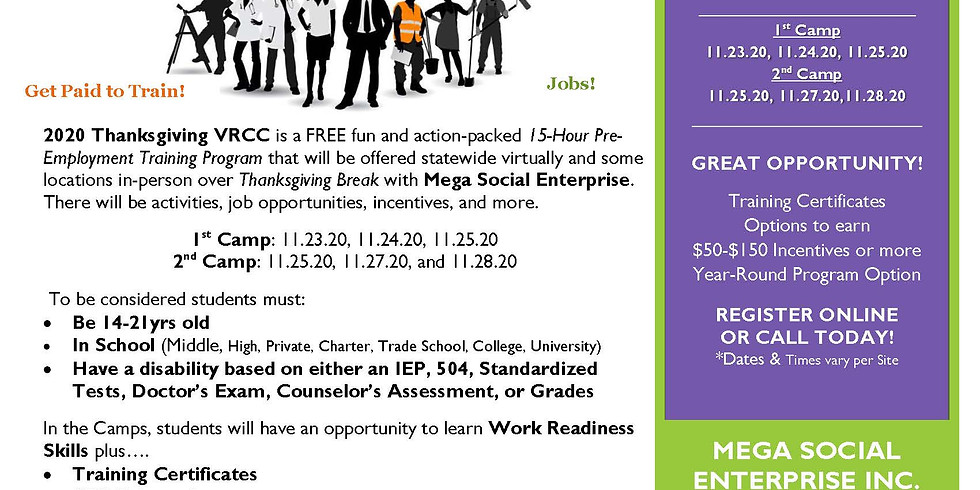 Virtual Statewide Thanksgiving 2020 Career Camp